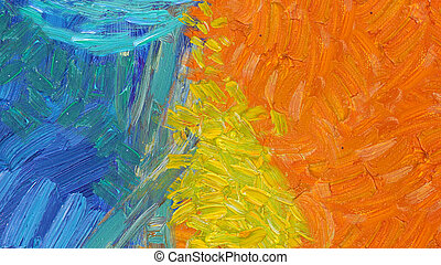 Colorful abstract oil painting closeup