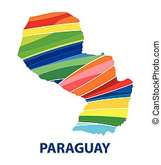 Colorful abstract Paraguay map vector
