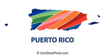 Colorful abstract puerto rico map vector