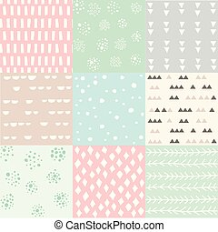 Colorful abstract seamless pattern set