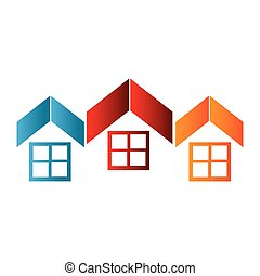 colorful abstract set collection roof and windows house