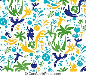 Colorful abstract sport pattern, yellow, green and blue background. Seamless Pattern included in swatch.