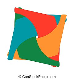 Colorful abstract square icon, cartoon style