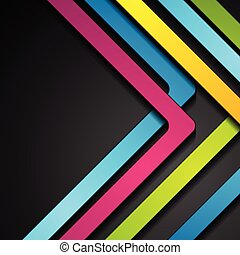 Colorful abstract stripes arrows on black background
