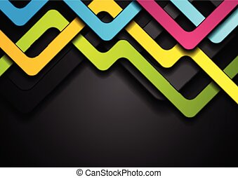 Colorful abstract stripes on black background