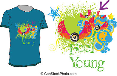 t-shirt design - Colorful abstract t-shirt design with quote...
