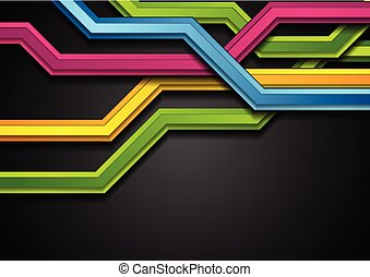 Colorful abstract tech stripes on black background