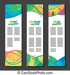 Colorful abstract template design, brochure poster, web sites banner, pattern page, leaflet preparation with colored lines and waves, logo  text separately cover layout. Sport concept banners. Vector formats