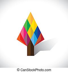 Colorful abstract tree icon(sign) made of diamond shapes- vector graphic. This illustration shows abstract geometric pattern of diamond shapes forming a tree with papers in origami style
