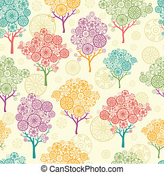 Colorful abstract trees seamless pattern background