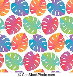 Colorful abstract tropical monstera pattern - Colorful ...