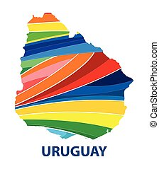 Colorful abstract Uruguay map vector