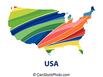 Colorful abstract usa map vector.