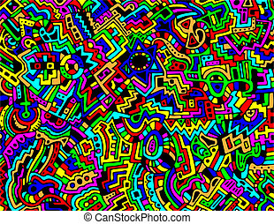 A detailed, colorful, and intricate hand-drawn, abstract background in vector format with an 8.5 X 11 aspect ratio.