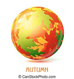 Colorful abstract vector ball with autumn maple leaves. Element of decor, the design of the