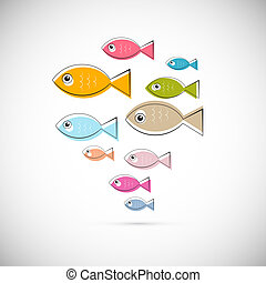 Colorful Abstract Vector Fish Illustration Isolated on Light Grey Background