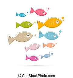 Colorful Abstract Vector Fish Illustration Isolated on White Background