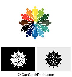 colorful abstract vector logo icon of people holding hands together
