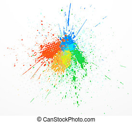 Colorful abstract vector paint splashing isolated on white