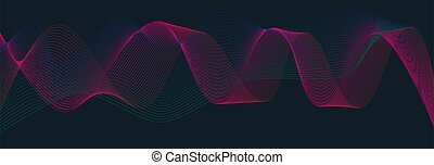 Colorful abstract wave On a black background