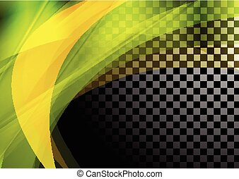 Colorful abstract waves on checkered background