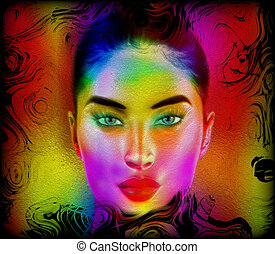 Colorful abstract woman's face.