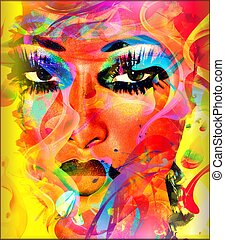 Colorful ribbons create an abstract effect for this beautiful woman's close up face. Modern digital art image of a woman's face, close up with colorful abstract background.