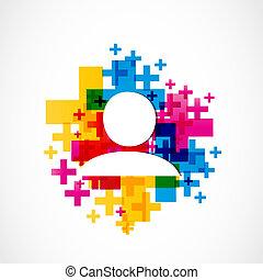 colorful add a friend concept