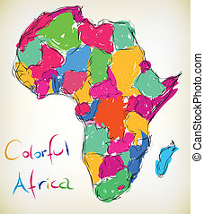 Colorful Africa - Hand-drawn illustration of the map of...