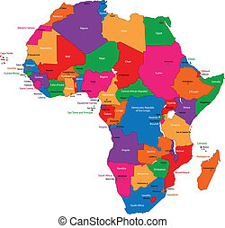 Africa map - Colorful Africa map with countries and capital...