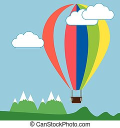 Colorful Air Balloon above the Mountains