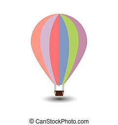 Colorful Air Balloon Flat Style Icon