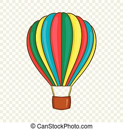 Colorful air balloon icon, cartoon style