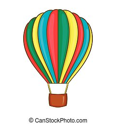 Colorful air balloon icon, cartoon style