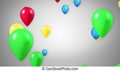 Colorful Air Balloons Floating Flying 3D 4K Loop Animation Background
