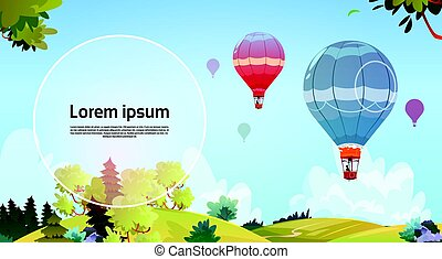 Colorful Air Balloons Flying In Sky Over Summer Landscape...
