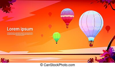 Colorful Air Balloons Flying In Sky Over Sunset Sea Landscape
