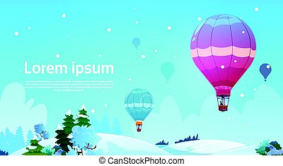 Colorful Air Balloons Flying In Sky Over Winter Snow Landscape