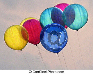 Colorful Air Balloons in air, Email icon, at symbol Concept