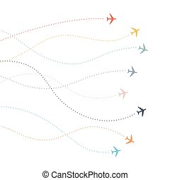 Colorful Airplane line path. Dotted lines flight paths of airline.