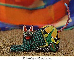 Colorful Alebrije Cat from Oaxaca