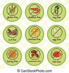 Colorful allergen food set