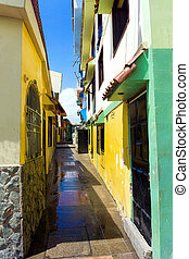 Colorful alley in Las Penas neighborhood in Guayaquil,...