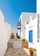 Colorful alleyway in Sifnos, Greece - Colorful alleyway from...