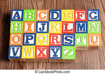 Colorful alphabet blocks A to Z