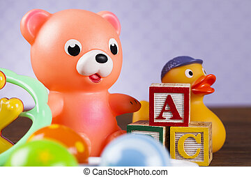 Colorful alphabet blocks, baby toy
