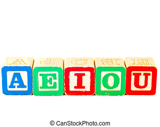 Colorful Alphabet Blocks With All of the Vowels