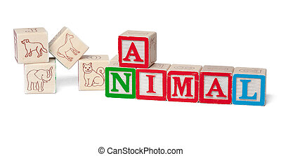 Colorful alphabet blocks. Word animal isolated on white background