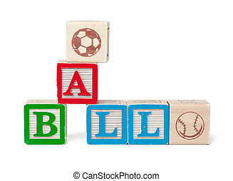 Colorful alphabet blocks. Word ball isolated on white background