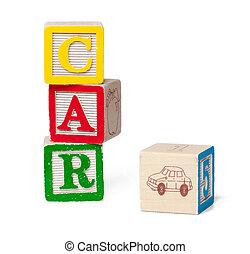Colorful alphabet blocks. Word car isolated on white background